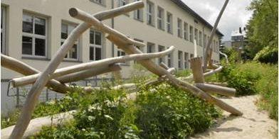 Wildpflanzen, Holzspielelemente und Natursteinmauern im Nordteil hinter der Schule
